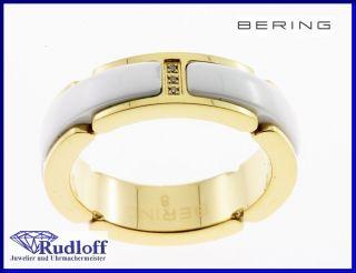 Edelstahl Ceramic Ring Fingerring 502 25  weiß gold ab GR 49