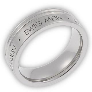 Herren Ring aus Edelstahl ohne Stein mit Gravur ewig dein, ewig
