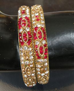 PC INDIAN LAC RHINESTONE CRYSTAL BRIDAL BANGLE BRACELET BELLY DANCE