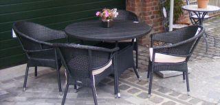Pago Resin Rattantisch Gartentisch rund 105 x 72 H cm schwarz