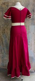 VINAGE 70er Kleid Gr 36 38 Bordeaux Spizen Hippie Boho Folk