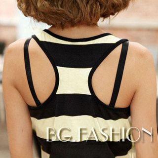 2012 HOT Womens Casual BOHO Stripe Crewneck Vest Tunic Long Dress