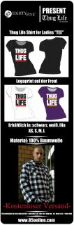 NEU Thug Life T Shirt for Women and Ladies schwarz Damen weiß lila