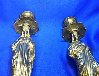 Pair Vintage German Silver Plated Christianity Virgin Mary Candle