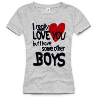 LOVE YOUBOYS Damen T Shirt Girls Herz Fun Spruch Weiß ny XS S M