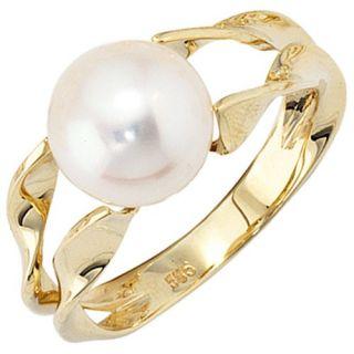 Damenring Ring Goldring mit Perle, 585 Gold Gelbgold, schlicht, für