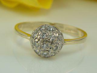 585 gelb weiß GOLD RING mit 0,90 Karat Cubic Zirkonia Kugel Ring