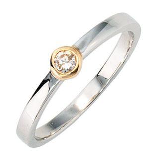 Damenring Ring mit Diamant Brillant, 585 Gold Weißgold Gelbgold