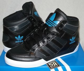 New Adidas Originals Mens HARD COURT HI Black Blue Shoes hardcourt