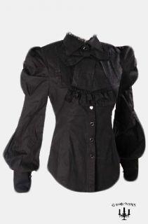 Victorian Bluse Top von RQ BL in schwarz mit Schleife Gothic Lolita 36