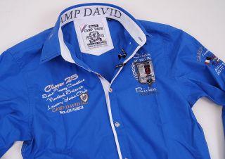 Camp David Polo Herren Hemd Langarm Trophy Cote d Azur clipper Blau Gr