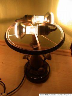 Orig. antike Jugendstil LAMPE Bronze PILZ Gruppe Glas Schirm Marmor