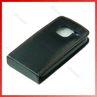 Leather Case Cover Flip Pouch For Nokia E5 Black New
