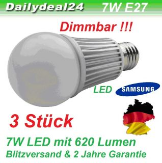 Bulb E27 Led 7W DIMMBAR LED A60 620 Lumen High Power LED Warmweiss 7W