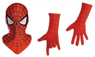 SPIDER MAN DELUXE MASK AND GLOVES ADULT ONE SIZE LICENSED 19062