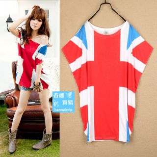 Mode Damen Frauen Batty Sleeve UNION Jack Short Tops T Shirt WeiB