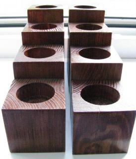 Holz Kerzenhalter Teelichthalter _ SET 8 Stück _ BRAUN _ Teelichter