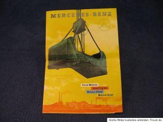 alter Werbe Prospekt Mercedes Benz Dieselmotoren Diesel Motor Bagger