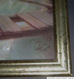 Schutzengelbild alt Guardian Angel aufwändig auf Karton gedruckt