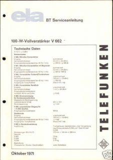 Telefunken Service Manual für ELA Verstärker V 662