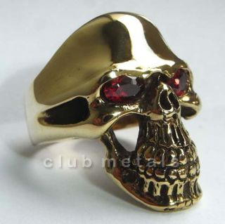 PREMIUM CLASSIC HUGE SOLID BRONZE BIKER SKULL RING Harley Chopper ruby
