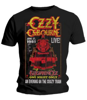 OZZY OSBOURNE Crazy Train T Shirt OFFICIAL Live Blizzard of Ozz Randy