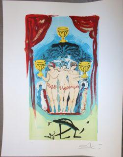 SALVADOR DALI ♦♦ lithographie TAROT♦ HANDSIGNIERT ♦SIGNED