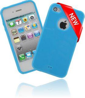 GLOSSY Silikon Case NEON BLUE für Apple iPhone 4S Handy Schutzhülle