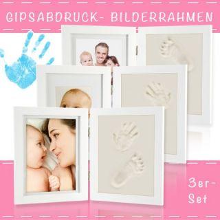 3x Set Kinder Bilderrahmen Abdruckset Gipsabdruck Baby Hand Fuß Bauch