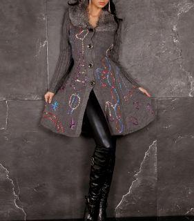 Sexy Damen Strickweste Fell Plüsch Multi Muster Long Jacke Mantel