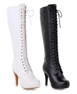 Womens Genuine Leather Lace Up High Heel Knee High Punk Boots Plus