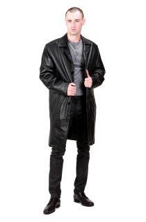 Ramonti Mens New Black Long Leather Walking Coat M L XL 2XL 3XL