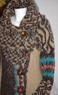 IVKO Strick Mantel coat Lammwolle brown long jacquard jacket Gr 40/L