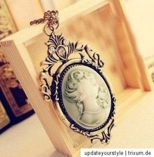 Vintage Kamee Gemme Medaillon Kette cameo STEAMPUNK victorian TRACHT