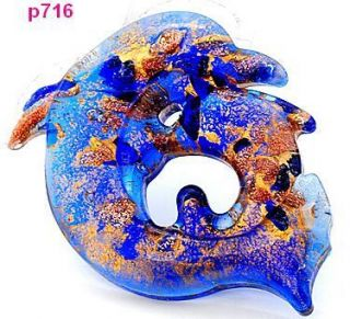 new handmade dolphin lampwork Murano art glass beaded pendant necklace