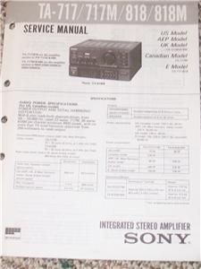Sony TA 717/717M/818Integrated Amplifier Service Manual