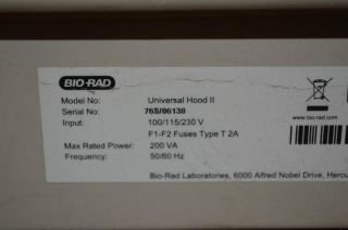 BIO RAD UNIVERSAL HOOD II UV Transilluminator Gel Doc
