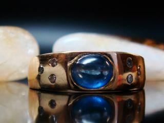 BAND RING mit DIAMANTEN und CEYLON SAPHIR / 750 GOLD