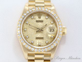 ROLEX UHR DATE JUST BRILLANT DIAMANT GOLD 750 ARMBANDUHR ~~