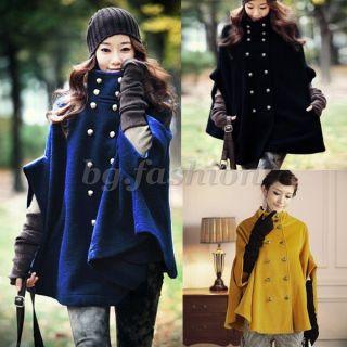 Damen Winter Zweireihig Jacke Mantel Fledermaus Poncho Cape Parka 34