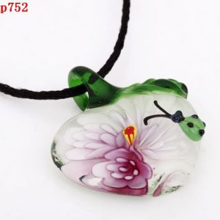 new handmade apple lampwork Murano art glass beaded pendant necklace