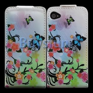 COLORFUL BUTTERFLY FLIP VERTICAL LEATHER CASE COVER SKIN FOR APPLE