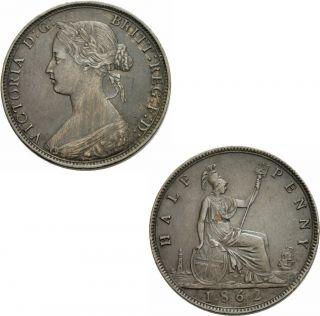 Victoria Half Penny 1862 1/2 Penny Great Britain KM 748.2