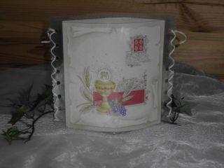 Tischlicht/Windlicht Kelch/Symbole  Kommunion/Taufe/Konfirmation