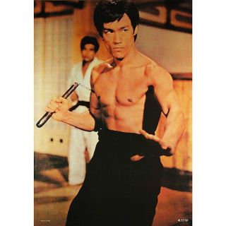 Bruce Lee Poster, Die Legende in Action mit Nunchakus, Kung Fu Master