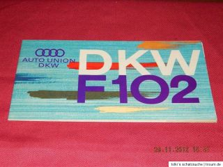 AUTO UNION DKW F 102 Farbkarte Colour Chart