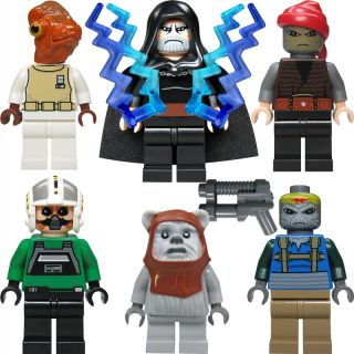 LEGO Star Wars Figuren Set #2 Dooku, Ackbar, Chirpa (Ewok), 2 Piraten