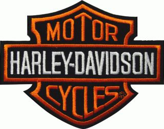 Harley Davidson Classic Bar + Shield Aufnäher 14x11cm Patch Orange