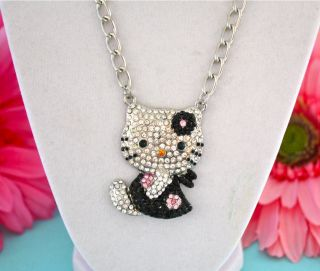 Large PRETTY BLACK CRYSTAL HELLO KITTY NECKLACE ☆☆