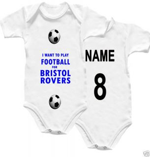 Bristol Rover Baby Grow Football Babygro Name No Shirt